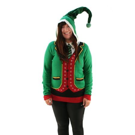 ugly christmas sweater plus size womens head elf boss suit hooded sweatshirt walmartcom - Christmas Sweater Suit