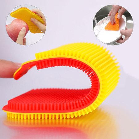 Antibacterial Silicone Cleaning Brush Pad Dish Fruit Scrubber Kitchen Clean Tool