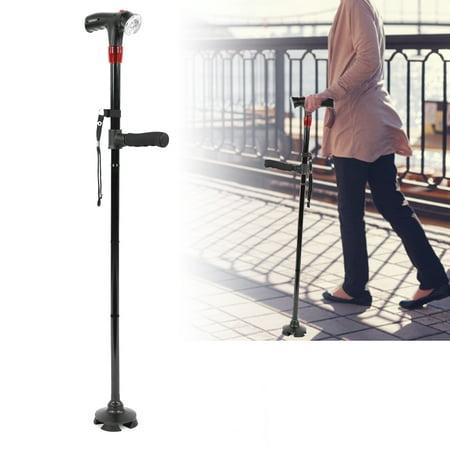 99c4b72eccba HERCHR LED Walking Stick, Elderly Cane, Folding LED Safety Walking Stick,  Magic Cane 4 Head Pivoting Trusty Base Black, Aluminum Alloy with LED Light  ...