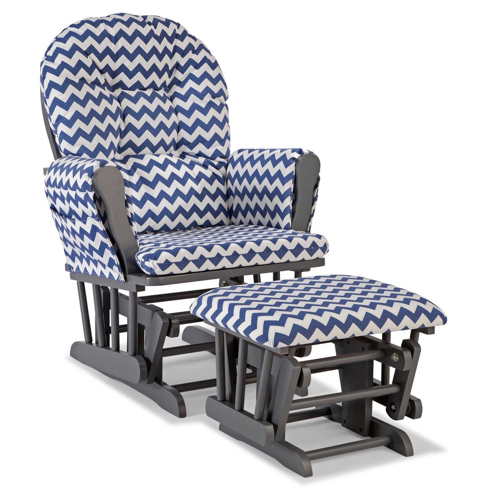 Storkcraft Chevron Hoop Glider and Ottoman Gray with Navy Cushions