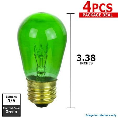 4PK - SUNLITE 11w S14 Green Transparent lamp 120v Medium