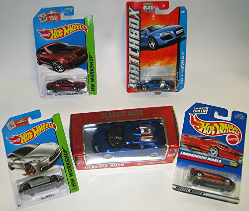 Mini Collection of 5 Exotic Cars: Matchbox AUDI R8, Hot Wheels: Lambourghini DIABLO + TESLA S + BENTLEY... by Mattel