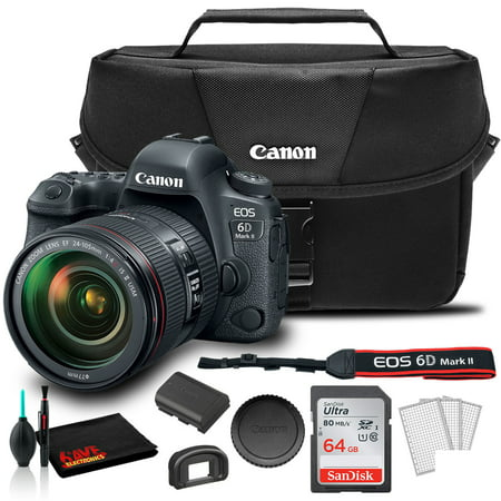 Canon EOS 6D Mark II DSLR Camera with 24-105mm f/4L II Lens (1897C009) + Canon EOS Bag + Sandisk Ultra 64GB Card + Care and Cleaning Set And More