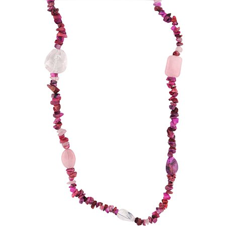 Rose Quartz Cross Necklace - Genuine Pink Rose Quartz and Crazy Lace Agate Necklace