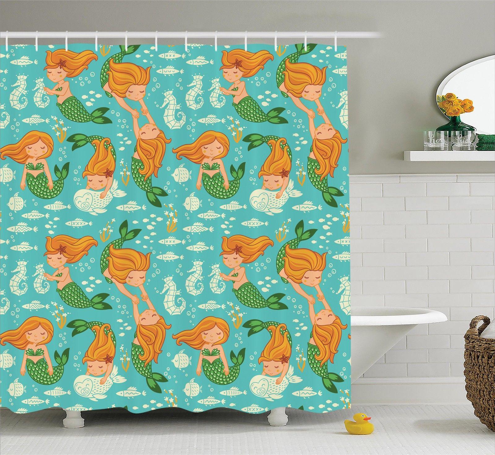Shower Curtains Details About Cartoon, Little Mermaid Bathroom Accessories