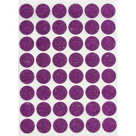 Glitter Dot Stickers 3/4  Round 17 mm, Color Coding Labels 0.69 inch circle purple sticker by Royal Green Glitter Round Sticker Labels by Royal Green. Use in your office, class, storage, educational projects, kids art, crafts projects, calendars, diary etc. Great for teachers, students, kids and more. Great to use as envelope seals for weddings and parties. The 3/4  round labels stick firmly to maps, documents, files, inventory, drawers and items on sale. In this package you will receive 720 labels. 48 stickers per sheet. 15 sheets total.