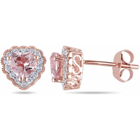 1 Carat T.G.W. Morganite and Diamond Accent 10kt Rose Gold Halo Heart Earrings