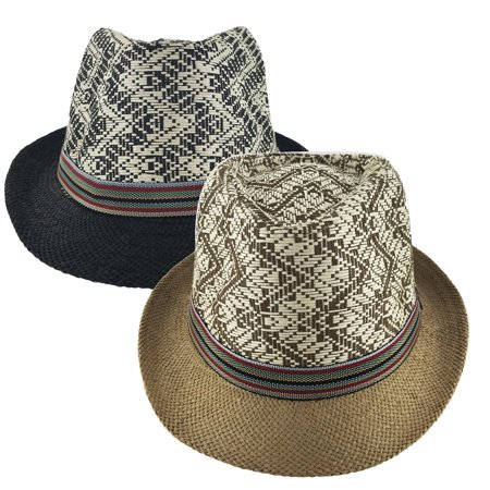 Faddism Unisex Ribbon Cuban Brim Fedora Straw Hat Model 209