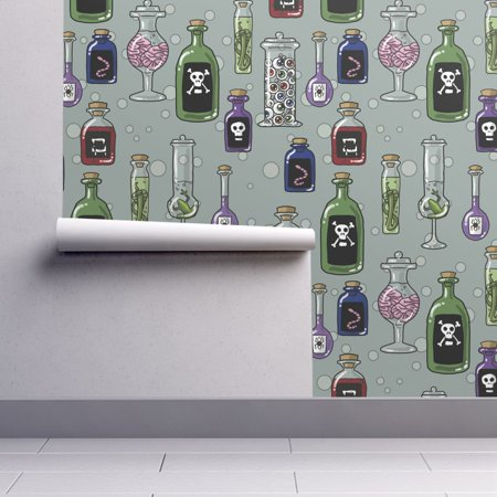 Peel-and-Stick Removable Wallpaper Poison Halloween Spooky Bottles Mad Scientist - Evil Halloween Wallpaper