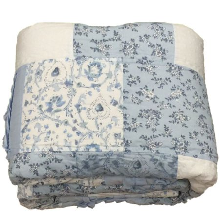 Simply Shabby Chic Blue Bohenian Patchwork Floral Twin Bed Quilt With Ruffles