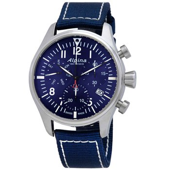 Alpina Startimer Pilot Chronograph Navy Blue Sunray Dial Men's Watch