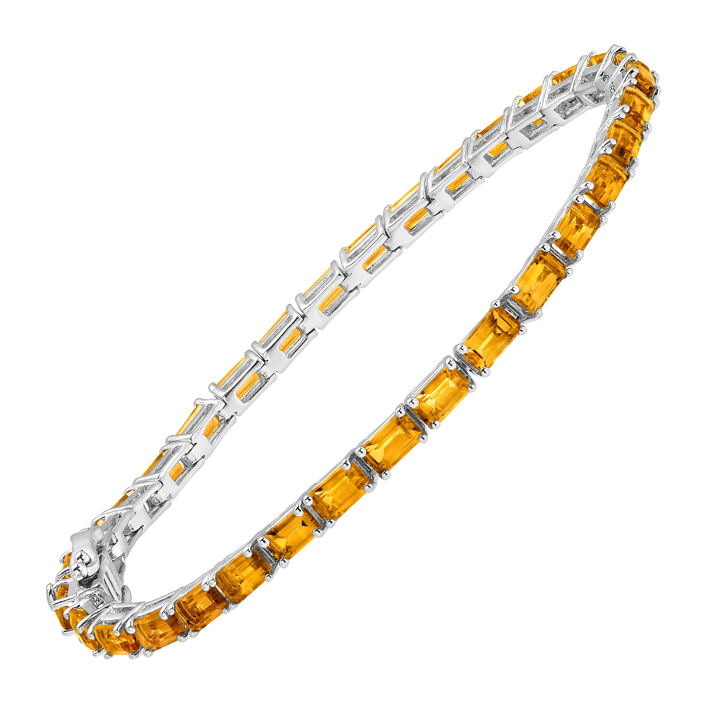 5 7 8 ct Natural Citrine Emerald-Cut Tennis Bracelet in Sterling Silver by Richline Group