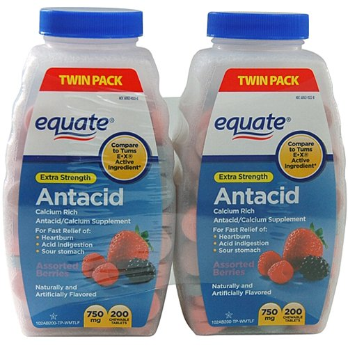 Equate Extra Strength Antacid Chewable Tablets, 750mg, 200 count