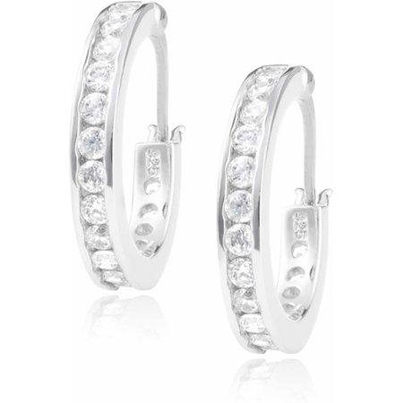 Brinley Co. Women's CZ Sterling Silver Hoop Earrings, 18mm