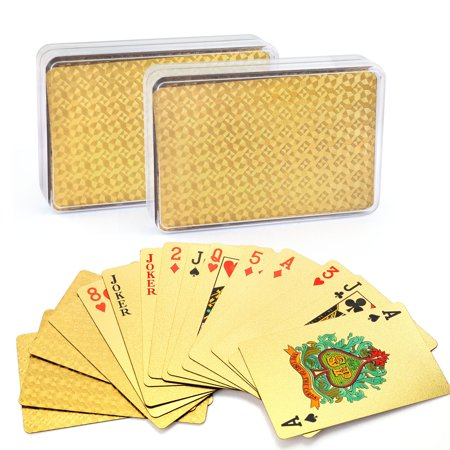 Card Deck Case (24K Gold Foil Playing Cards, 2 Decks of Cards with Boxes, Waterproof, Plastic, Mosaic Backing, Bridge Size Standard Index, for Table Cards Games, Magic)