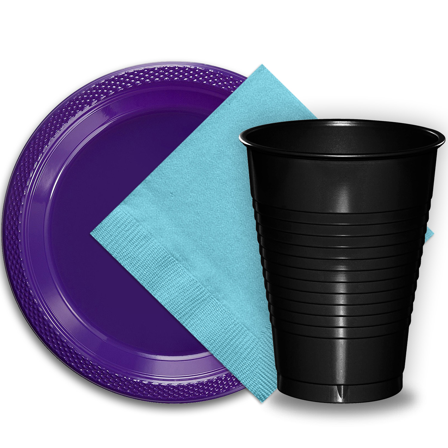 """50 Purple Plastic Plates (9""""), 50 Black Plastic Cups (12 oz.), and 50 Light Blue Paper Napkins, Dazzelling Colored Disposable Party Supplies Tableware Set for Fifty Guests."""