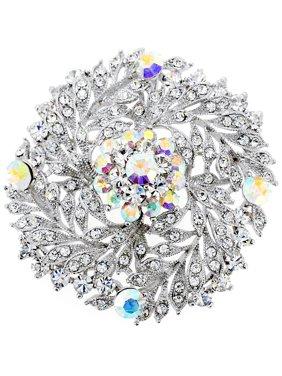 b6266e98b Product Image Chrome Flower Wedding Swarovski Crystal Pin Brooch and Pendant
