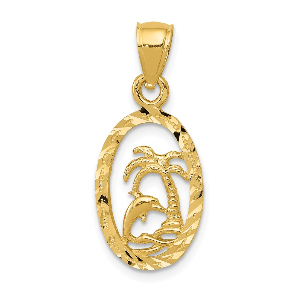 14k Yellow Gold Dolphin and Palm Tree Pendant