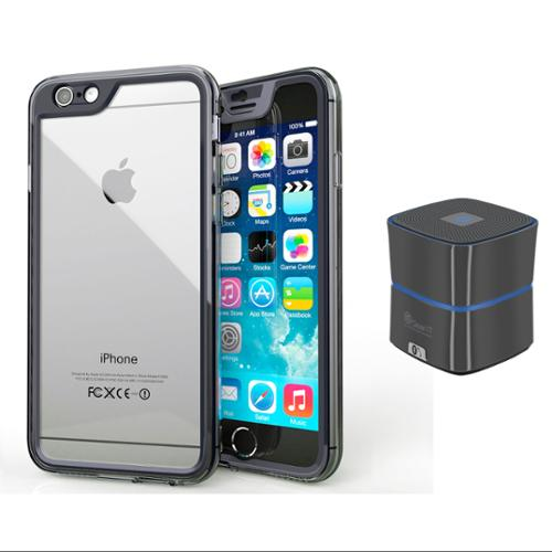 iPhone 6 Case Bundle (Case + Speaker Gunmetal), roocase iPhone 6 4.7 Gelledge  PC / TPU Protective Full Body Case Cover with Mini Bluetooth Speaker Gunmetal for Apple iPhone 6 4.7-inch, Navy