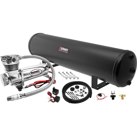 Vixen Air 5 Gallon (18 Liter) Steel Tank with 200 PSI Chrome Compressor Onboard System/Kit for Suspension/Train Horn 12V