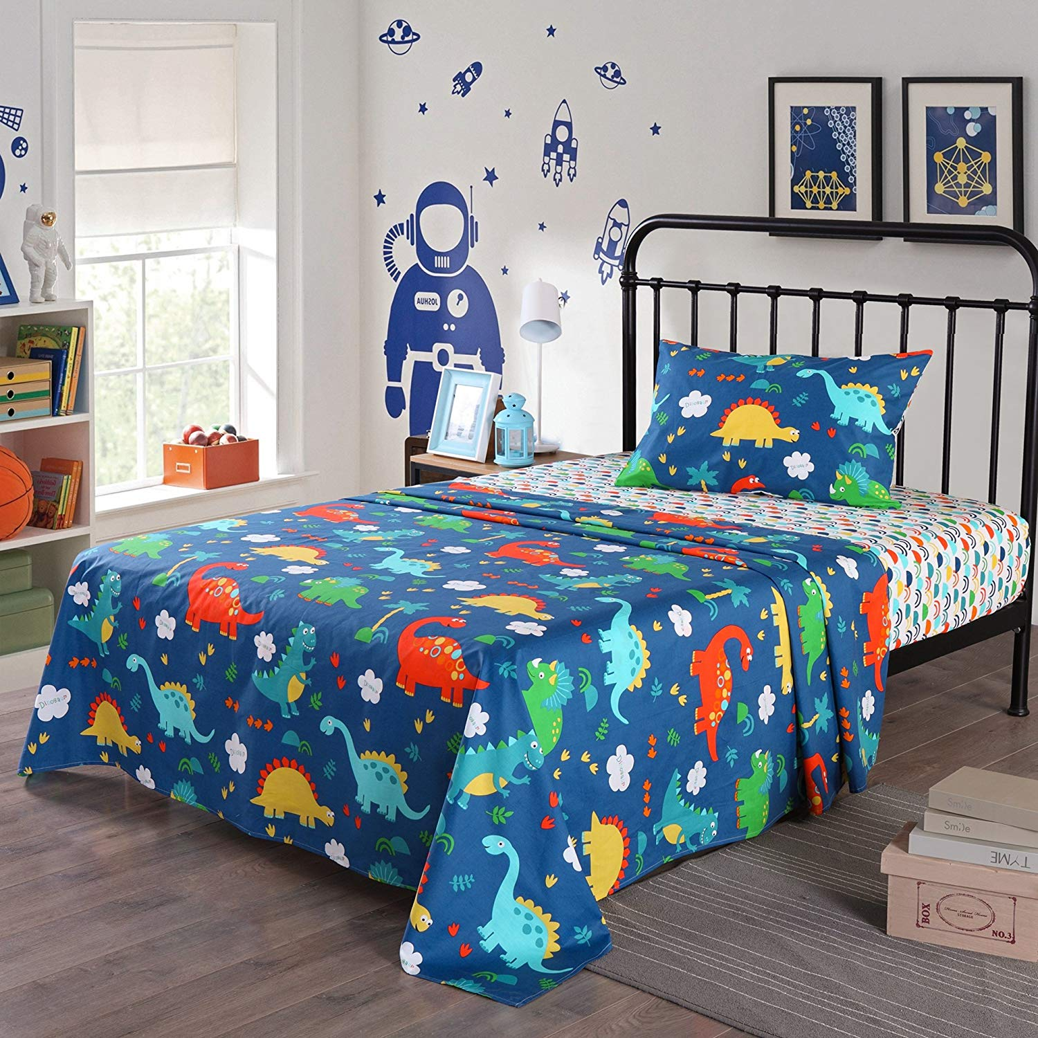 3D Dirt Bike Print Bed Sheet Set Motocross Rider Extreme Sport Fitted Sheet for Kids Boys Youth Teens Watercolor Motorcycle Pattern Black Bedding Set Decor 2Pcs Bed Cover with 1 Pillowcase Twin Size