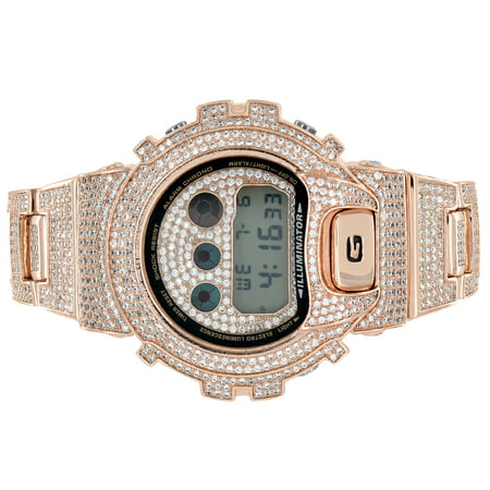 Diamonds Rose Alligator Watch - Custom Gshock Iced Out Watch Rose Gold Finish DW6900 Simulated Diamonds
