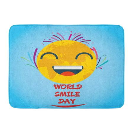 GODPOK Joy Red Laughter World Smile Day October Smiley Face Yellow Happiness Cartoon Rug Doormat Bath Mat 23.6x15.7 inch](October Door Decorations)