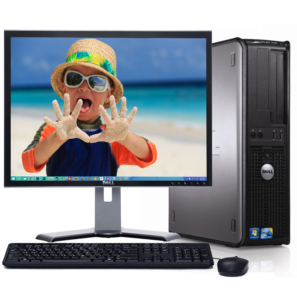 """Dell Optiplex Desktop PC Tower System Windows 10 Intel Core 2 Duo Processor 4GB Ram 80GB Hard Drive DVD Wifi with a 17"""" LCD -Refurbished Computer with Extended Care 3 Year Warranty"""