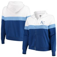 Kansas City Royals New Era Women's Plus Size Colorblock French Terry Full-Zip Hoodie - Royal/White
