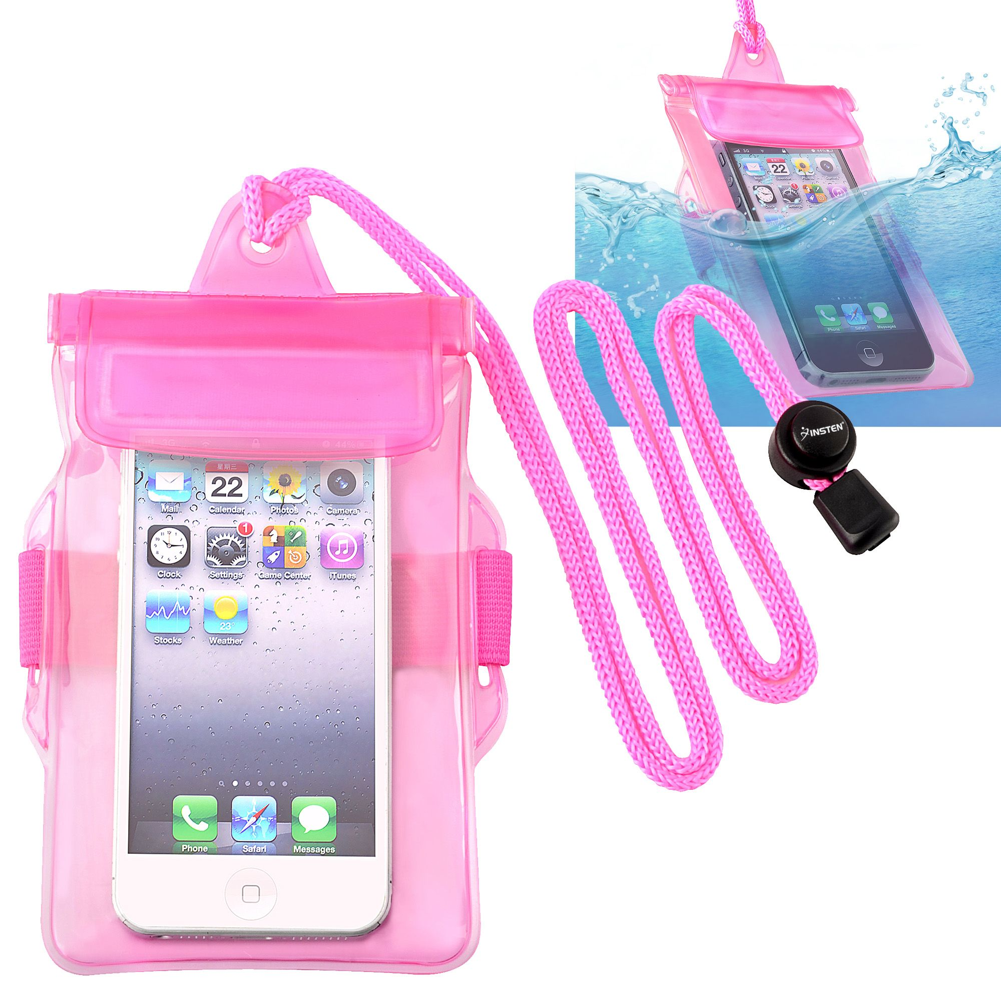 Waterproof Dry Bag Carrying Case Phone Holder Universal by Insten, Hot Pink iPhone 8 7 6 SE 5 5S 5C 4S / LG Stylo 3 2 Plus Stylus 3 Tribute HD X STYLE X power Aristo K7 K8 K10 K20 Galaxy A5 A3 A7