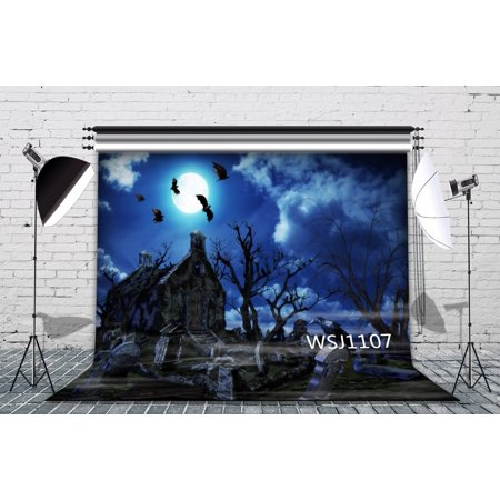 HelloDecor Polyster 7x5ft The Graveyard on Halloween Photography Backdrop Background Photo Background Studio Prop (Graveyard Backdrop)