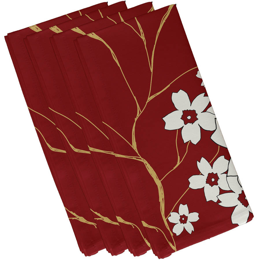 "Simply Daisy 19"" x 19"" Floral Print Napkins, Set of 4"