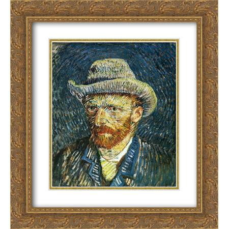 Vincent van Gogh 2x Matted 20x24 Gold Ornate Framed Art Print 'Self Portrait with Felt (Vincent Van Gogh Self Portrait With Felt Hat)