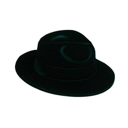 Club Pack of 24 Roaring 20's Black Velour Fedora Novelty Hat - Velour Hat