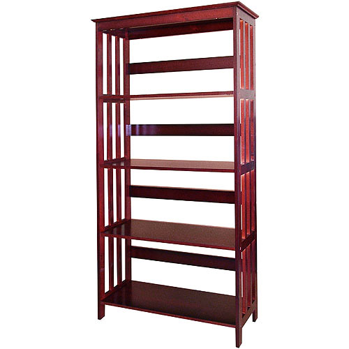 Mission Style 4-Tier Open Bookcase, Cherry