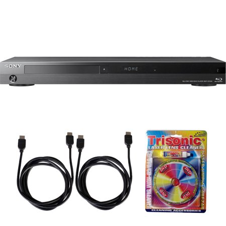 Sony BDP-S7200 4K Wi-Fi Blu-ray Disc Player with Hi Res Audio w/ Accessory Bundle includes Blu-ray Player, 2 HDMI Cables and Laser Lens Cleaner