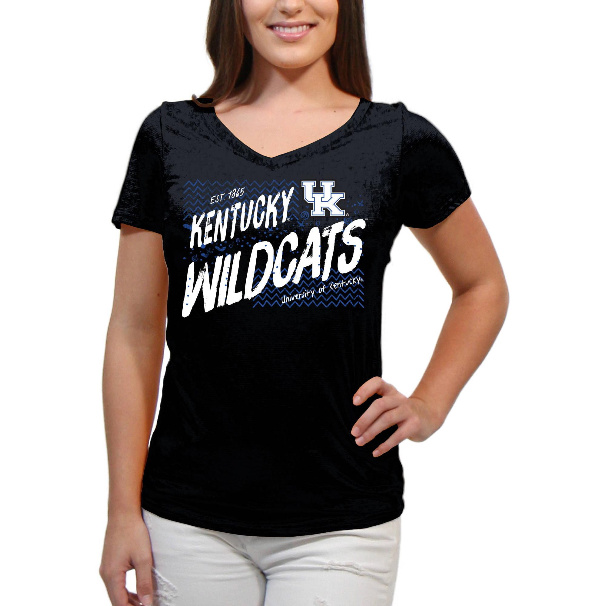 Kentucky Wildcats Scatter Doodle Women'S/Juniors Team Short Sleeve V Neck Tee Shirt