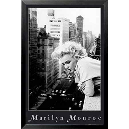 buyartforless FRAMED Marilyn Monroe on NYC Balcony Ambassador Hotel March 1955 by Ed Feingersh 36x24 Black and White Photograph Art Print Poster