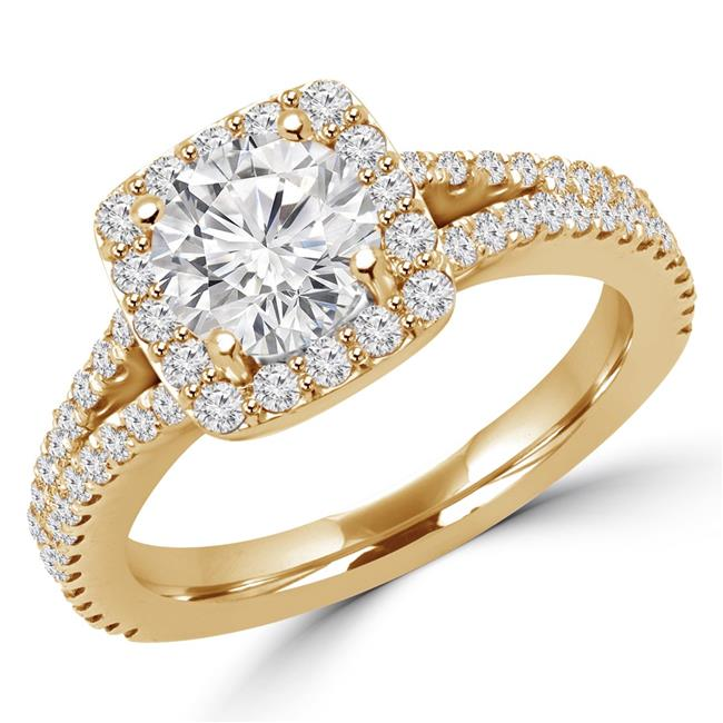 Majesty Diamonds MD170117-6 1.9 CTW Round Diamond Split Shank Halo Engagement Ring in 14K Yellow Gold - Size 6