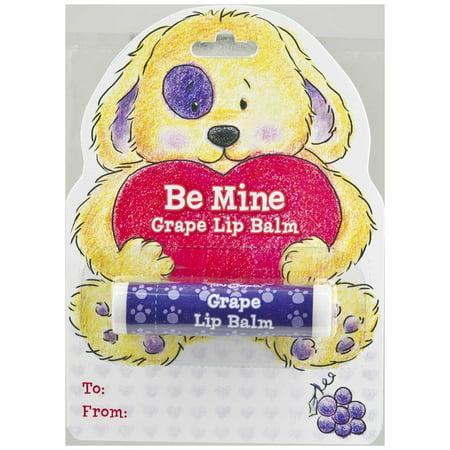 Chapstick Puppy Dog Valentine Card   Ganz Be Mine Grape Lip Balm  Time   Again