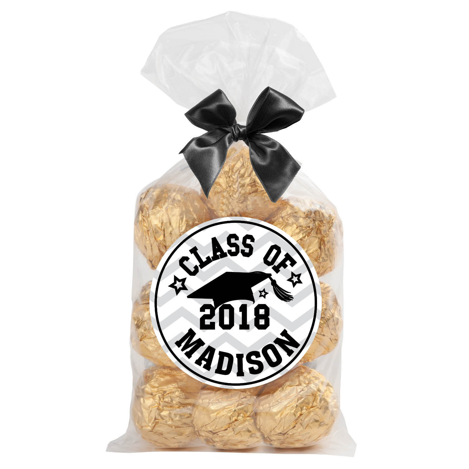 Graduation Personalized 24-Pc Sticker and Treat Bag Set