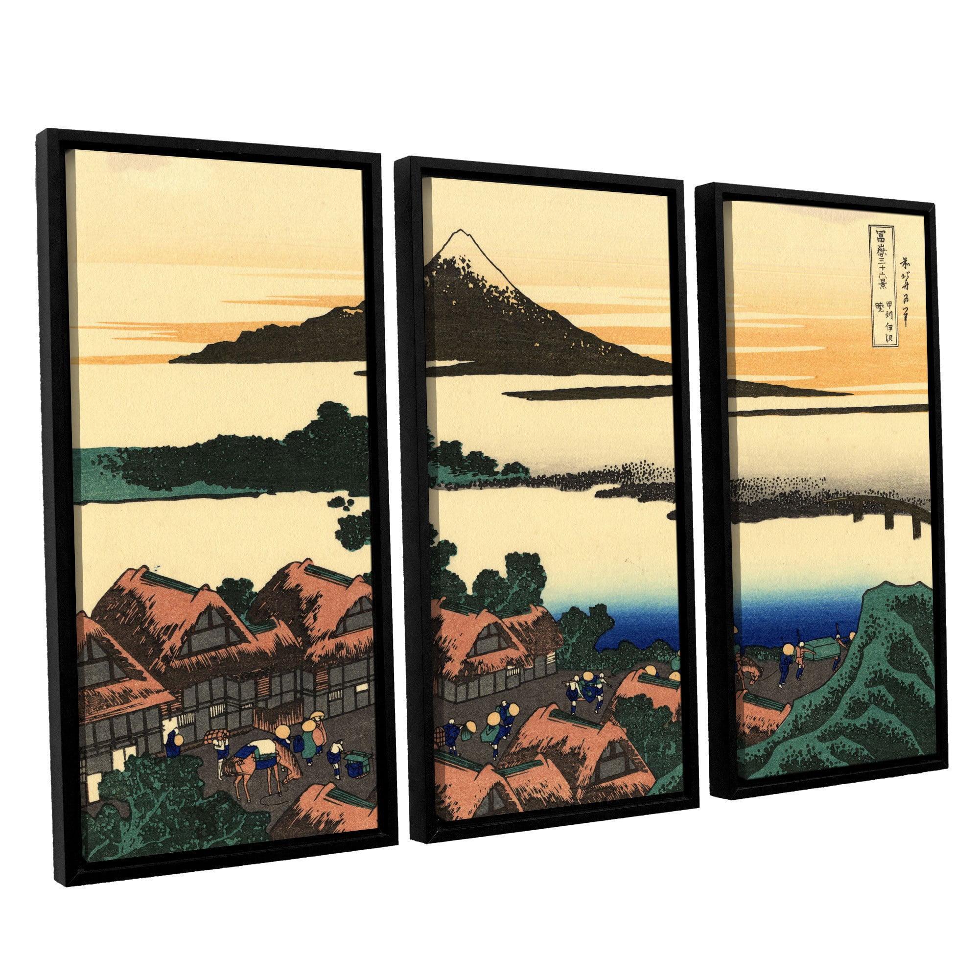 Artwall Katsushika Hokusai Dawn At Isawa In The Kai Province 3 Piece Floater Framed Canvas Set Walmart Com Walmart Com