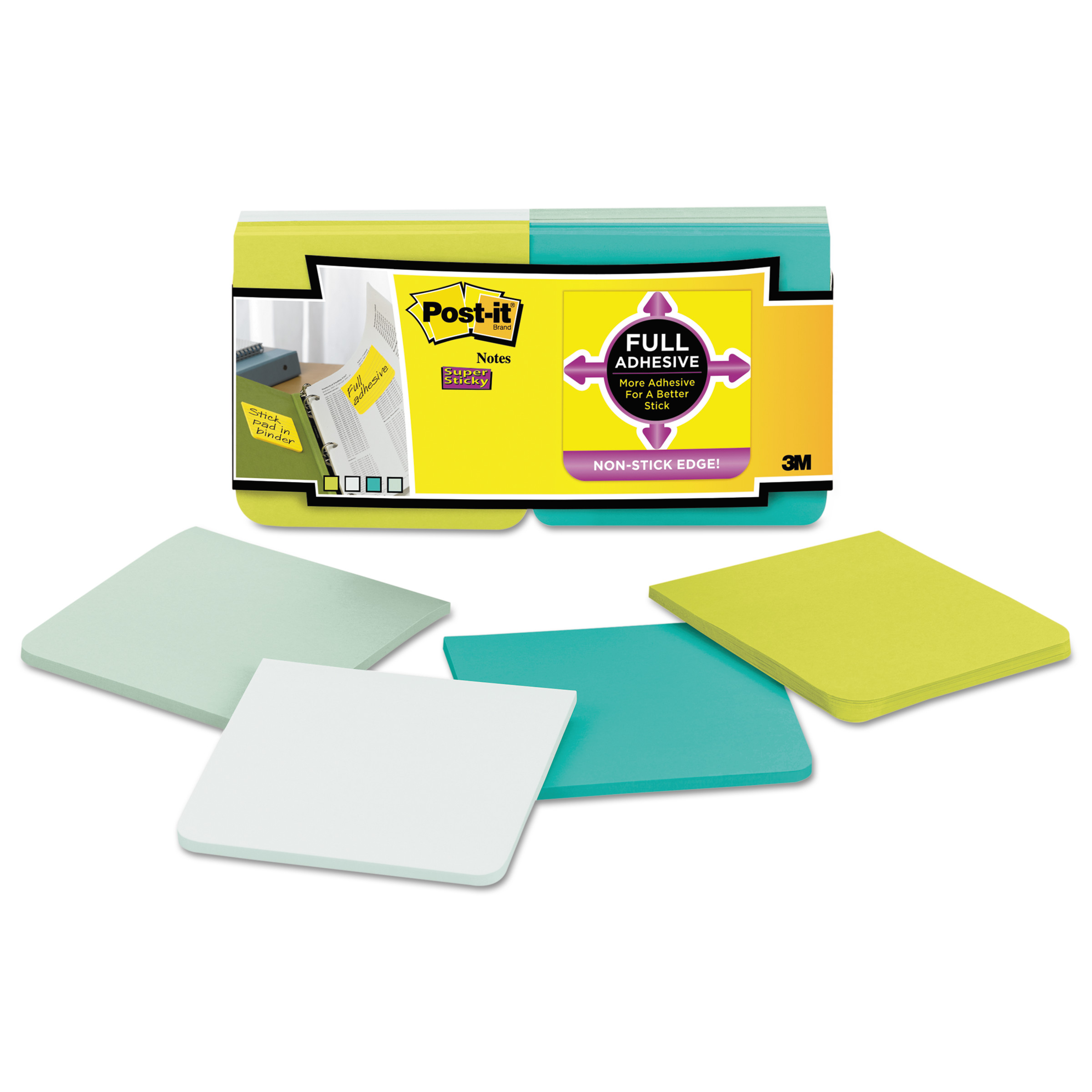 Post-it Notes Super Sticky Full Adhesive Notes, 3 x 3, Bora Bora Colors, 12/Pack -MMMF33012SSFM