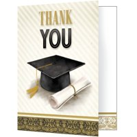 Club Pack of 48 Black and White Classic Graduation Thank You Notes 5""
