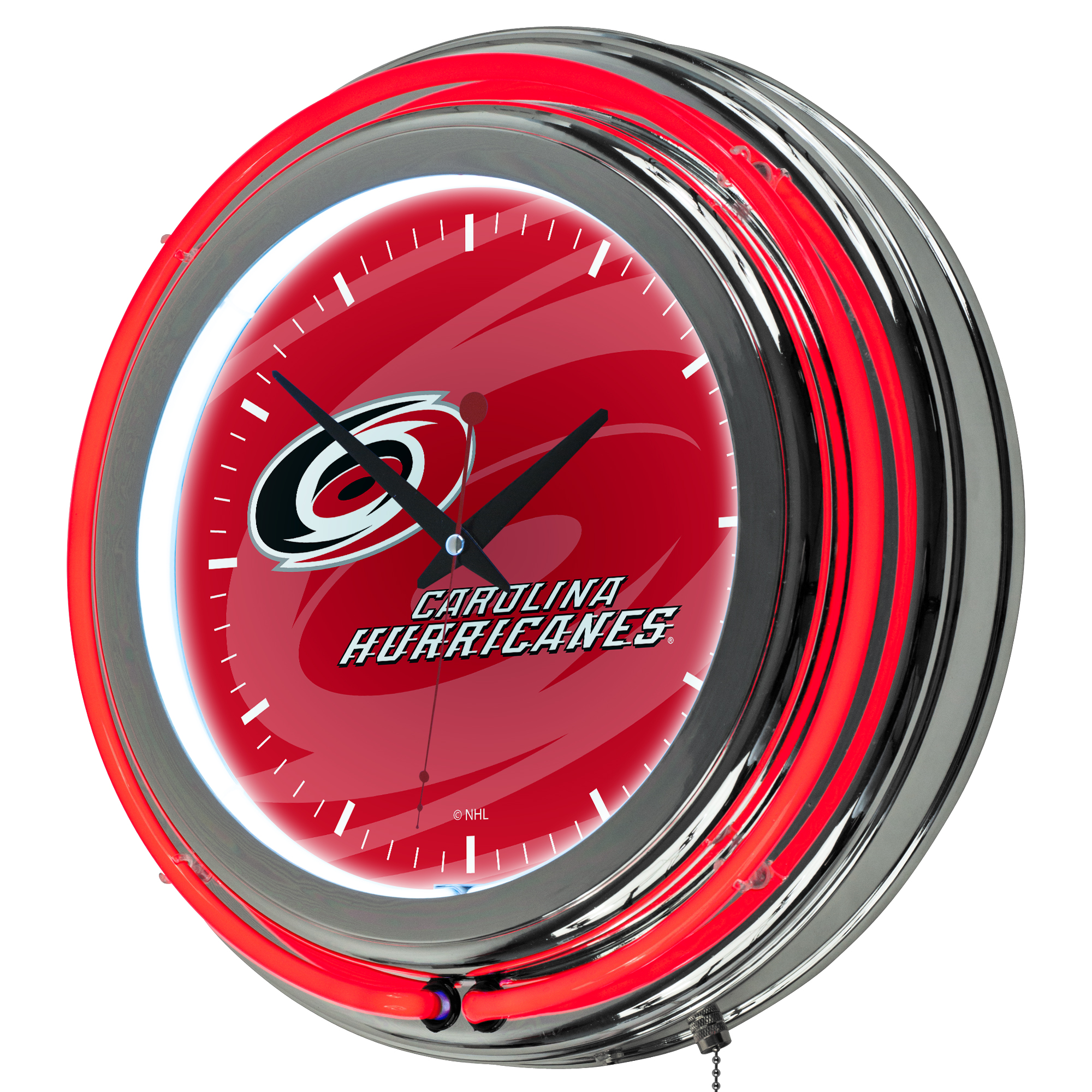 NHL Chrome Double Rung Neon Clock - Watermark - Carolina Hurricanes