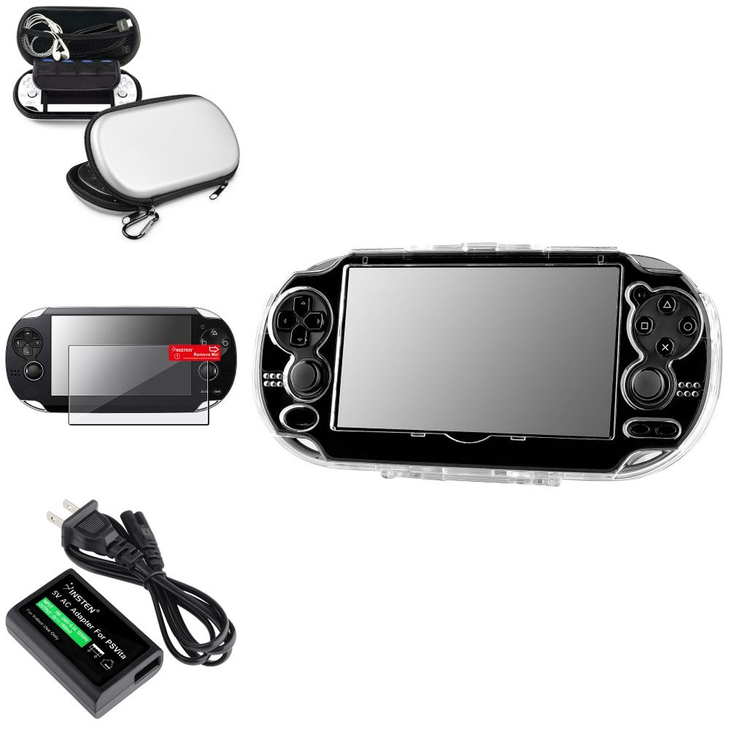 Insten Crystal Case+Silver Hard EVA Case Pouch+Film+AC Adapter US Plug For Sony PS Vita