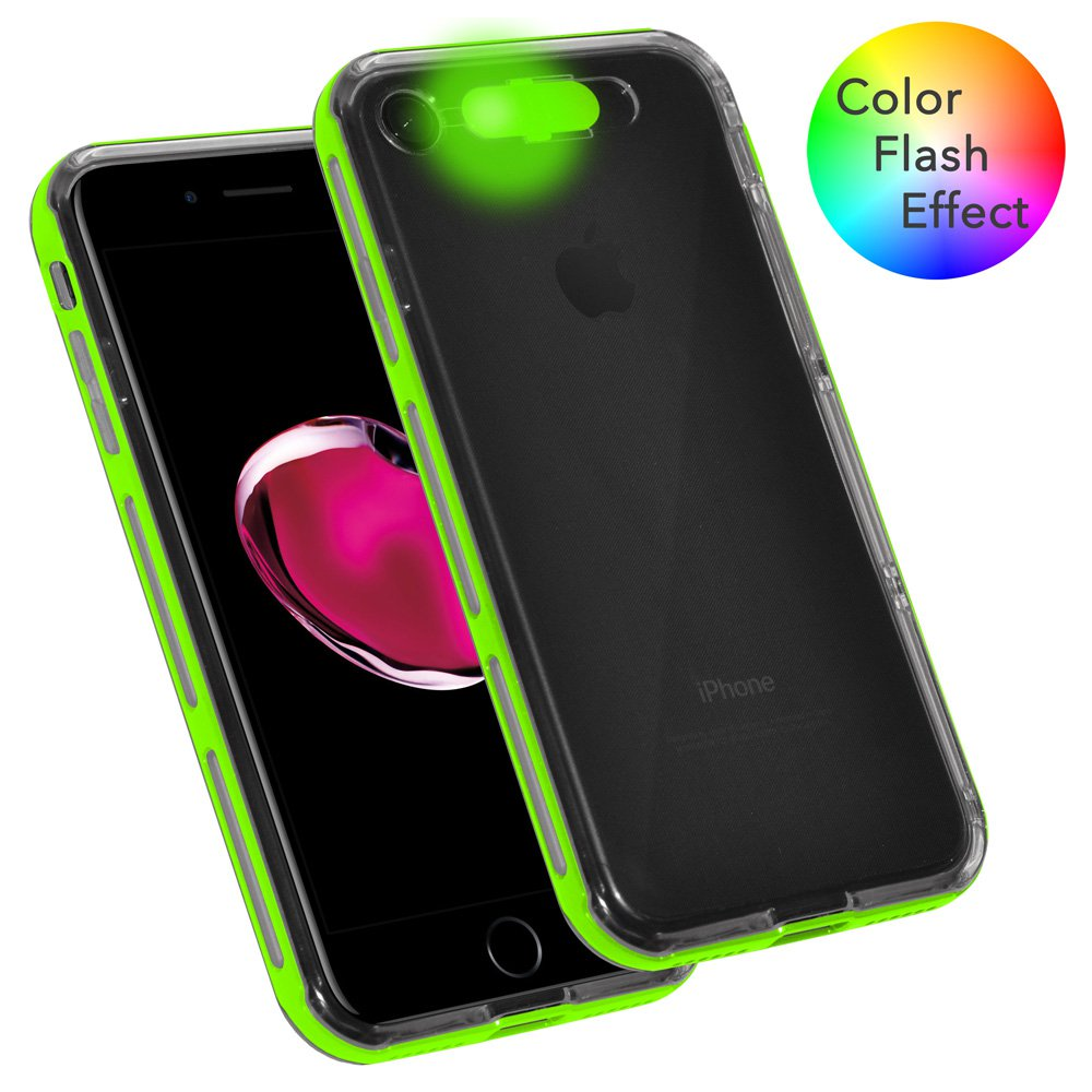iPhone 7 Dual Layer Soft TPU Case Hard Bumper LED Color Flash Effect Case Light up Incoming Call Flash Cover - Clear/ Green