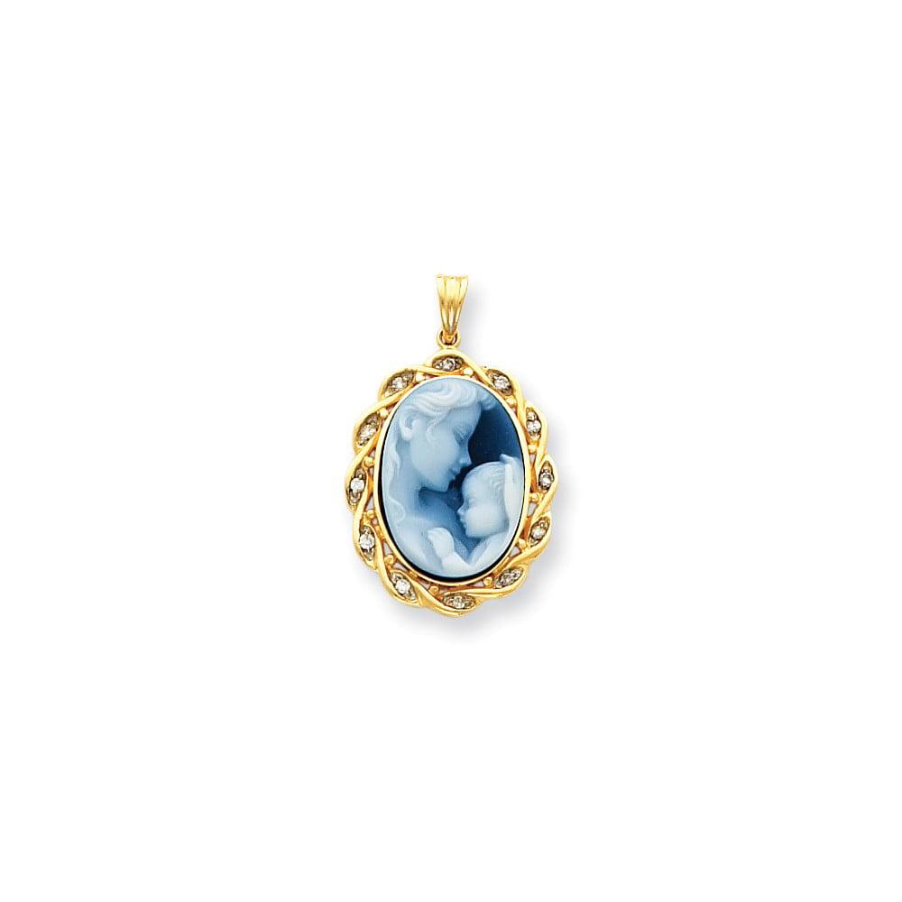 14k Yellow Gold Heavens Gift Diamond Agate Cameo Sentiment Pendant