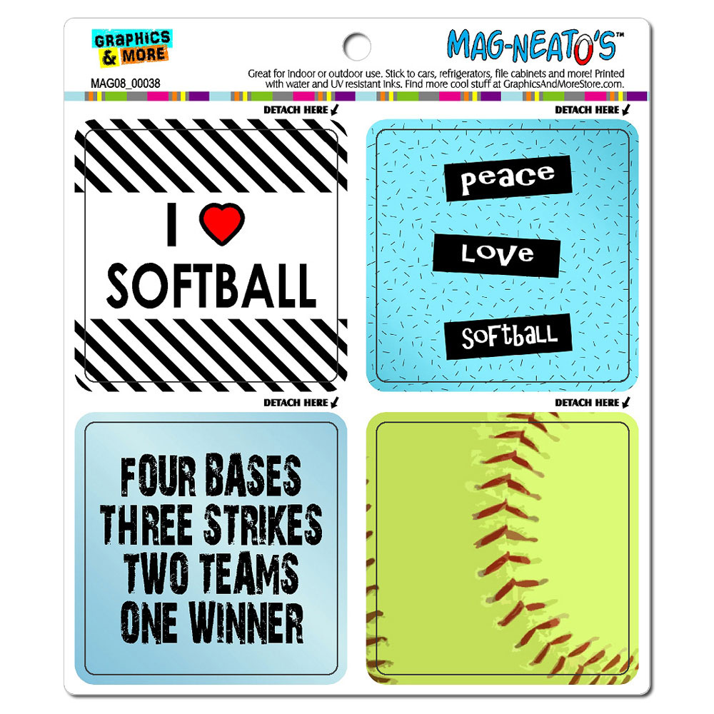 Softball Player Fan Love MAG-NEATO'S(TM) Car/Refrigerator Magnet Set