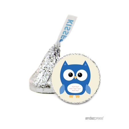 Boy  Baby Owl Hershey´s Kiss Baby Shower Stickers, 216-Pack - Owl Boy Baby Shower
